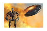 A Giant Robot and Ufo on the Attack Prints