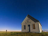 The 1909 Liberty School on the Canadian Prarie in Moonlight with Big Dipper Photographic Print