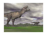 Tyrannosaurus Rex Growling as a Fellow T-Rex Runs Away Print