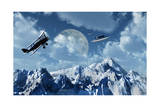 A 1930S Dh 82 Tiger Moth Biplane Encounters a Group of Ufo'S Prints