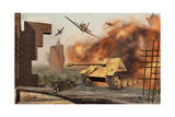 American P-47 Fighter Planes Attacking German Jagdpanther Tanks Prints
