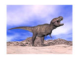 Aggressive Tyrannosaurus Rex Dinosaur in the Desert Prints