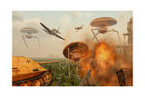 An Alternate Reality Where Allied and German Forces Unite in Fighting an Alien Invasion Prints