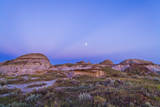 Gibbous Moon and Crepuscular Rays over Dinosaur Provincial Park, Canada Photographic Print