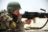 An Afghan National Army Soldier Fires an M240B Machine Gun Photographic Print