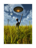 An Alien Being Directing a Ufo in Making Crop Circles Posters
