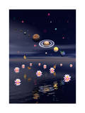 Planets of the Solar System Surrounded by Lotus Flowers and Butterflies Posters
