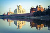 The Taj Mahal Reflected in the Yamuna River Papier Photo par Doug Pearson