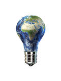 Light Bulb with Planet Earth Inside Glass, Africa and Europe View Poster