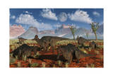 A Herd of Duckbilled Corythosaurus Dinosaurs Poster