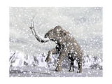 Mammoth Walking Through a Blizzard on Mountain Prints