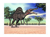 Spinosaurus Standing in the Desert with Trees Stampe