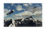 A 1930S Dh 82 Tiger Moth Biplane Encounters a Group of Ufo'S Poster