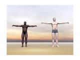 Homo Erectus Man Next to Modern Human Being Prints