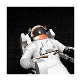 Astronaut Floating Alone in the Dark Space Surrounded with Stars Premium Giclee Print