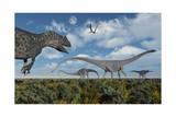 An Allosaurus Dinosaur Stalking a Herd of Diplodocus Dinosaurs Poster