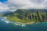 Aerial of the Napali Coast, Kauai, Hawaii, United States of America, Pacific Photographic Print by Michael Runkel