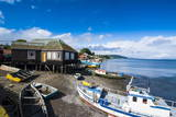 Fishing Boats in the Harbour of Dalcahue, Chiloe, Chile, South America Photographic Print by Michael Runkel