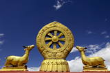 A Golden Dharma Wheel and Deer Sculptures Photographic Print by Simon Montgomery