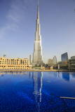 Burj Khalifa Reflected in Hotel Swimming Pool, Dubai, United Arab Emirates, Middle East Photographic Print by Amanda Hall