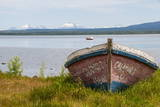Little Fishing Boat in the Bay of Puerto Natales, Patagonia, Chile, South America Photographic Print by Michael Runkel