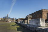 The Forum and Vesuvius Volcano, Pompeii, UNESCO World Heritage Site, Campania, Italy, Europe Photographic Print by Angelo Cavalli