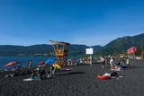 Tourists Sunbathing on the Volcanic Sand Beach on Lago Villarrica, Pucon, Chile, South America Photographic Print by Michael Runkel