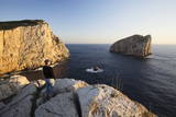 Woman Enjoying the Sunset, Capo Caccia, Province Nurra, Sardinia, Italy, Mediterranean, Europe Photographic Print by Markus Lange