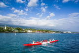 Locals Working Out in their Outrigger Canoes Photographic Print by Michael Runkel