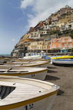 Traditional Fishing Boats and the Colourful Town of Positano Photographic Print by Martin Child