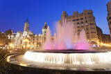 Illuminated Fountain on Plaza Del Ayuntamineto Photographic Print by Markus Lange