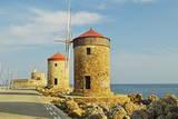 Windmills, Mandraki Harbor, Rhodes City, Rhodes, Dodecanese Photographic Print by Jochen Schlenker