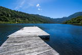 Wooden Boat Pier on Lago Tinquilco in the Huerquehue, Southern Chile Photographic Print by Michael Runkel