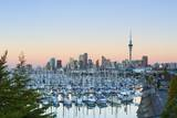 Westhaven Marina and City Skyline Illuminated at Sunset Photographic Print by Douglas Pearson