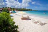 Beach and Sunshades, Long Bay, Antigua, Leeward Islands, West Indies, Caribbean, Central America Photographie par Frank Fell