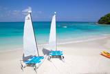 Beach and Hobie Cats, Long Bay, Antigua, Leeward Islands, West Indies, Caribbean, Central America Photographie par Frank Fell