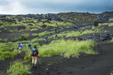 Tourists Walking Through the Lava Landscape of the Tolbachik Volcano, Kamchatka, Russia, Eurasia Photographic Print by Michael Runkel