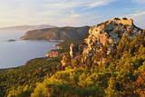Monolithos Castle and Aegean Sea, Rhodes, Dodecanese, Greek Islands, Greece, Europe Fotografisk tryk af Jochen Schlenker