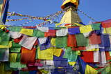 Prayer Flags in Front of Boudha (Bodhnath) (Boudhanath) Tibetan Stupa in Kathmandu Photographic Print by Simon Montgomery