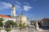 Trinity Column and Town Hall in Szechenyi Square, Pecs, Southern Transdanubia, Hungary, Europe Photographic Print by Ian Trower