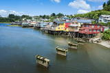 Colourful Houses in Castro, Chiloe, Chile, South America Photographic Print by Michael Runkel