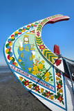 Colorful Hand Painted Prow of a Gondola-Like Moliceiro Photographic Print by G and M Therin-Weise