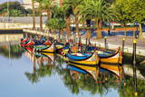 Gondola-Like Moliceiros Boats Anchored Along the Central Channel, Aveiro, Beira, Portugal, Europe Photographic Print by G and M Therin-Weise