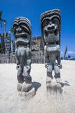 Wooden Statues in Puuhonua O Honaunau National Historical Park Photographic Print by Michael Runkel