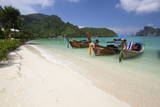 Long-Tail Boats and Beach of Ao Dalam Bay Photographic Print by Stuart Black