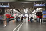 Passengers Rushing Through Lucerne Railway Station, Lucerne, Switzerland, Europe Photographic Print by Julian Elliott