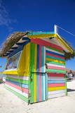 Beach and Colourful Beach Hut Photographic Print by Frank Fell