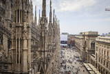 View over the Piaza Duomo from the Duomo (Cathedral), Milan, Lombardy, Italy, Europe Photographic Print by Yadid Levy