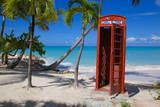 Beach and Red Telephone Box Photographic Print by Frank Fell