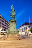 Statue on Ostra Larmgatan at Dusk, Gothenburg, Sweden, Scandinavia, Europe Photographic Print by Frank Fell